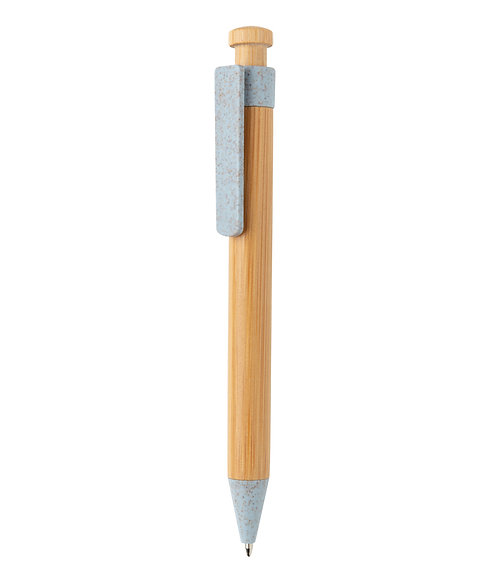 Bamboo pen with wheatstraw clip