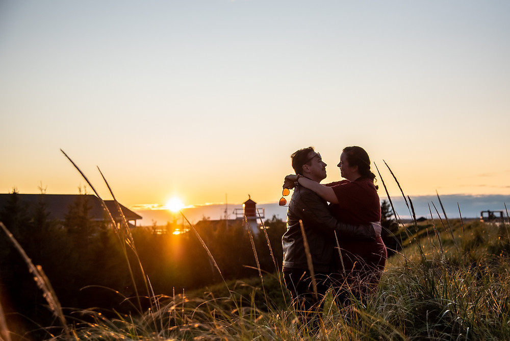 Parlee beach New Brunswick, couple with gorgeous sunset.