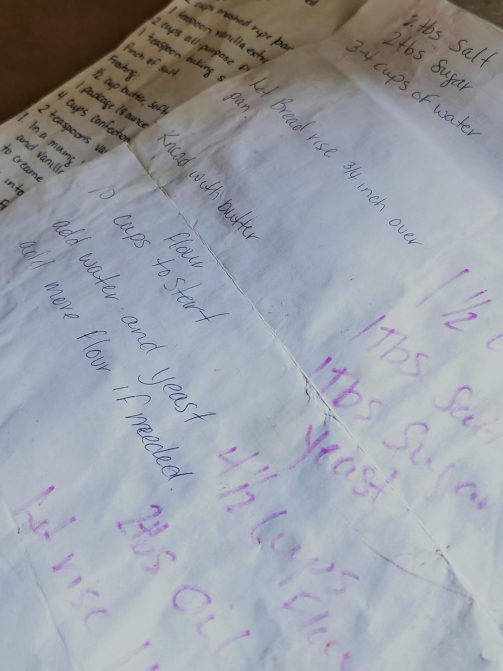 worn out handwritten recipe