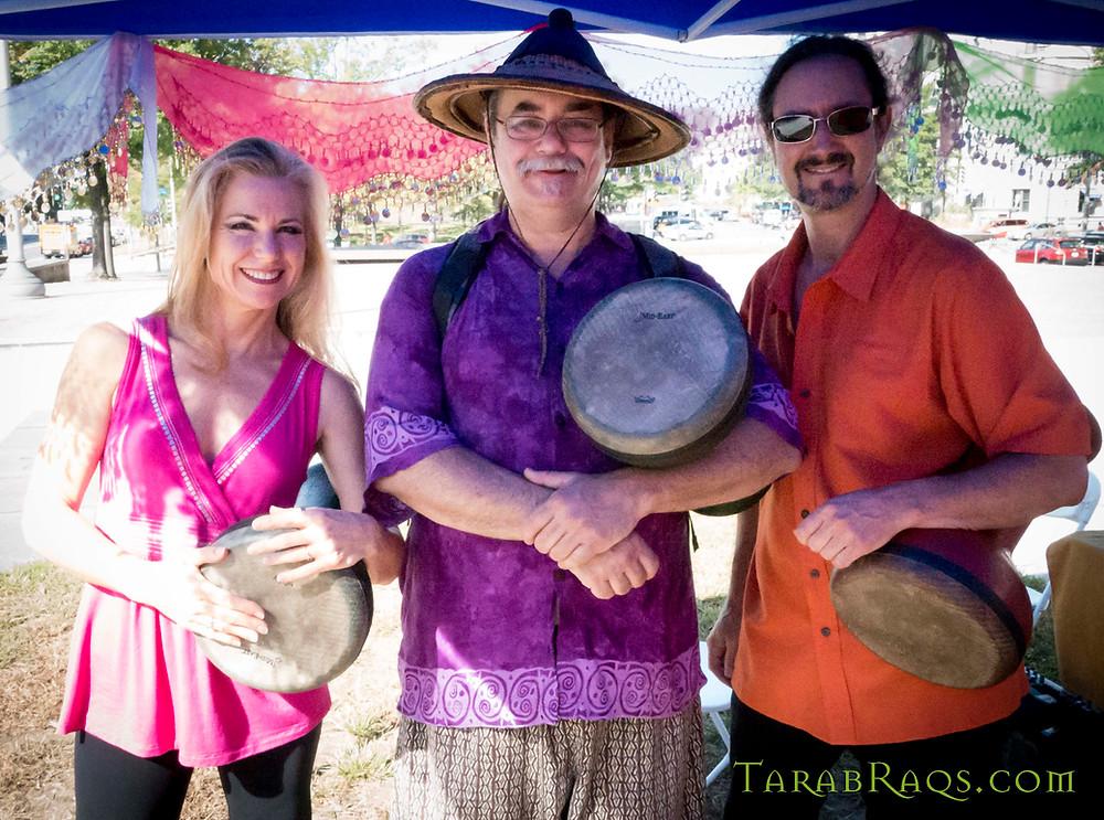 Jensuya, Daveed Korup, Bob Peak with doumbek Mid Eastern drums