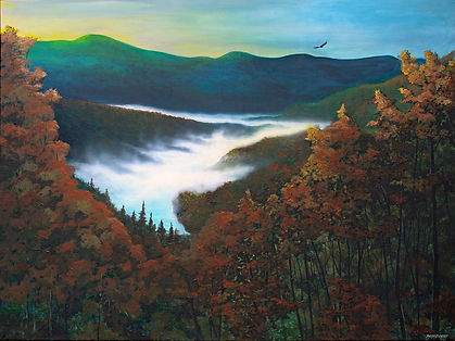 Fall Morning-3'X4' acrylic painting on s