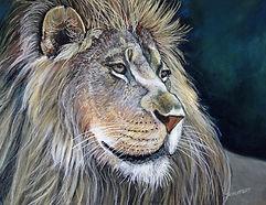 Lion-17X24 pastel painting on pastel boa