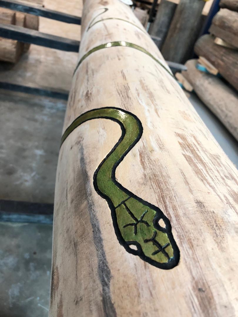 Carved Snake on Ironbark Totem - Workshop