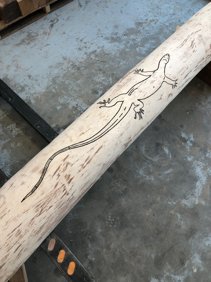 Carved timber totem with goanna design - In progress