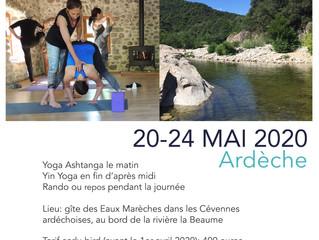 Pont de l'Ascension 2020 au fil de l'eau... Yoga et Randonnée en Ardèche