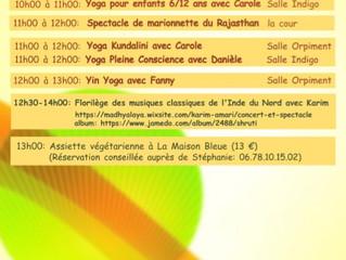 Samedi 22 juin de 8h30 à 13h:               Fête du Yoga aux 3 Ateliers à Lablachère! Demandez le pr