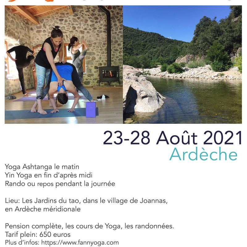 Yoga et Randonnée en Ardèche du 23 au 28 août 2021