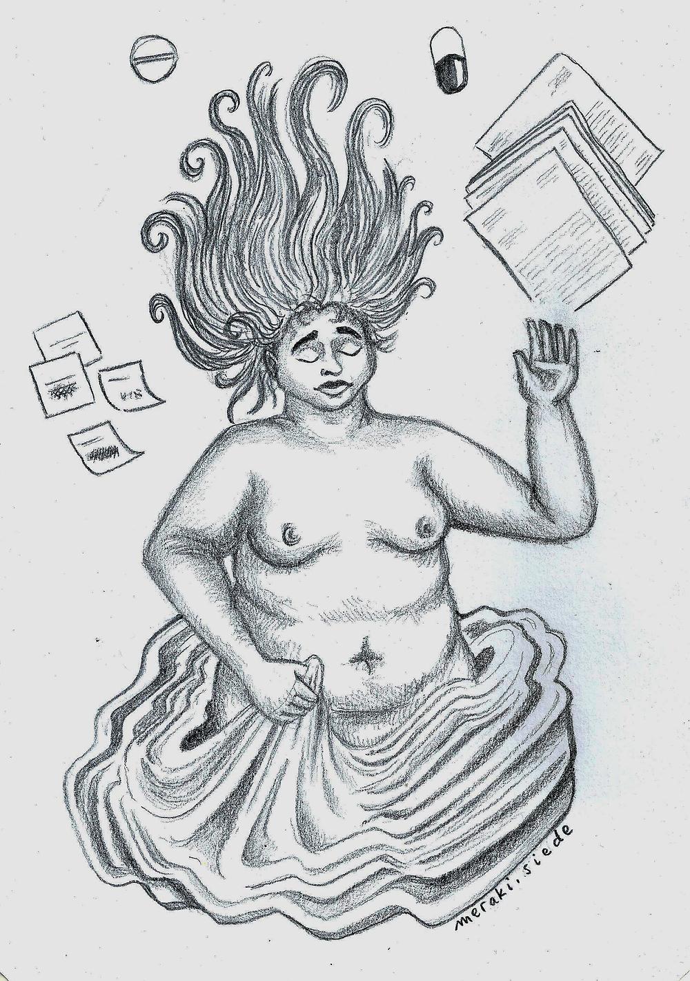Ilustración a lápiz de una persona acostada en el piso con el torso desnudo, rodeada de papeles y medicamentos.