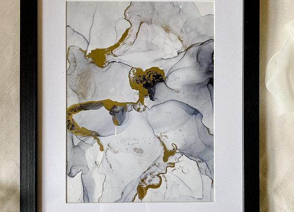 Einzigartiges Bild 30x36 mit Bilderrahmen, gold, handmade