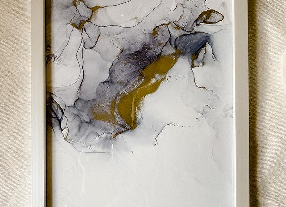 Einzigartiges Bild 21x30 mit Bilderrahmen, gold, handmade