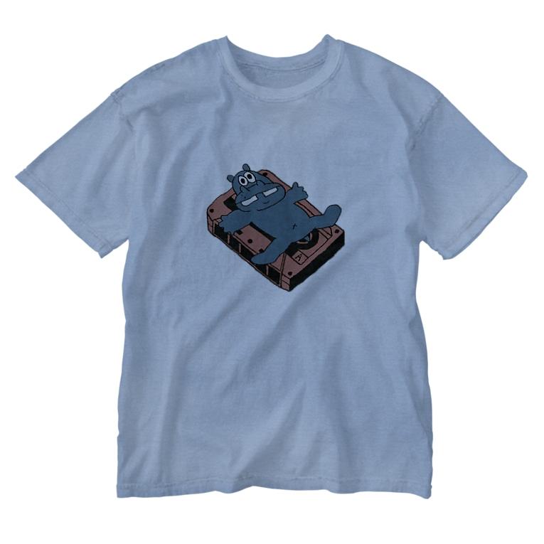 カバとカセットテープ(カラー) ウォッシュTシャツ