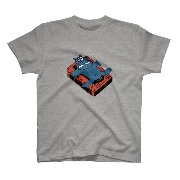 カバとカセットテープ(カラー) Tシャツ
