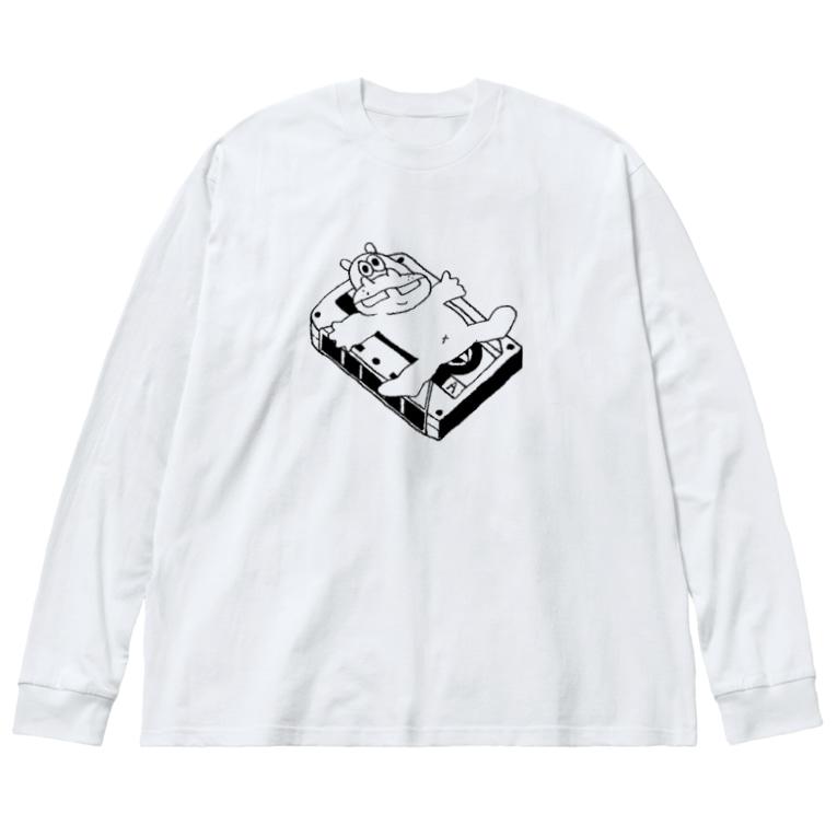 カバとカセットテープ ビッグシルエットロングスリーブTシャツ