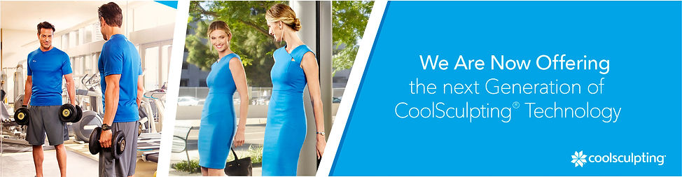 "Man and woman looking in mirror, ""we are now offering the next generation of CoolSculpting technology"""