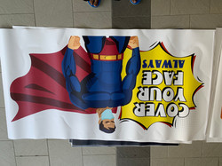 Covid-Superman-Face Mask-Floor Graphic