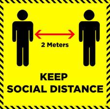 Safe Distance 2 m Square Sign