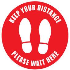 Safe Distance Please Wait Here Round Sign