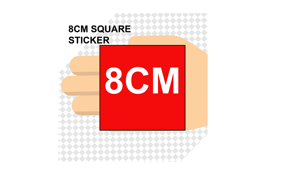 80mm (8cm) SQUARE Stickers (15pcs per sheet)