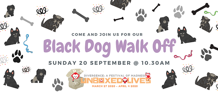 Actual black dog walk off Facebook Event