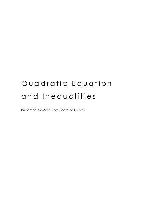Quadratic Equation and Inequalities
