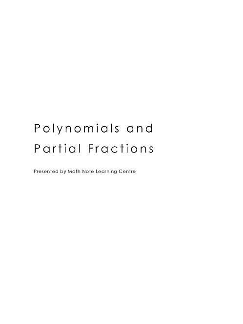 Polynomials and Partial Fractions