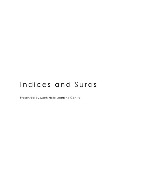 Indices and Surds