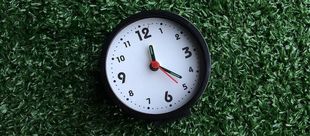 relógio em grama