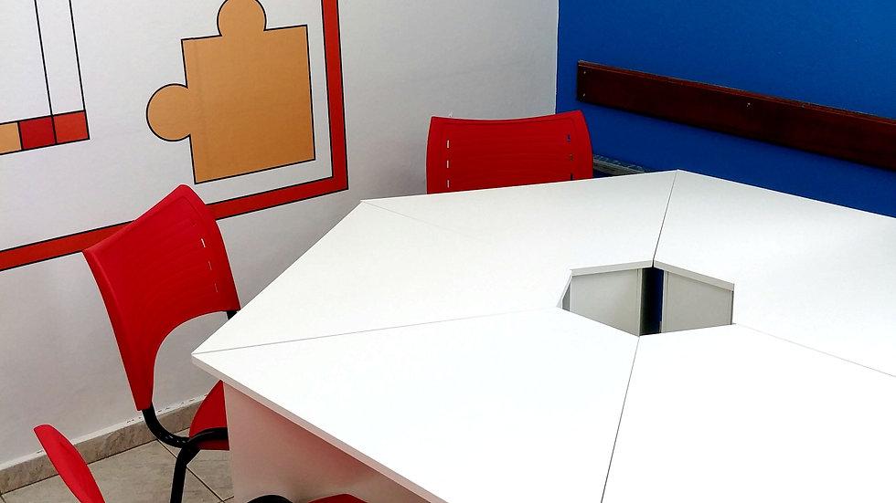 mesa coletiva trapezoidal 6 peças