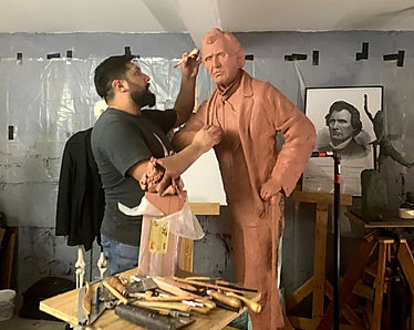 Alex Paul Loza sculpting Thaddeus Steven