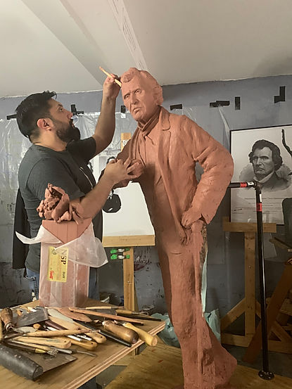 Alex Paul Loza sculpting Thaddeus Steven