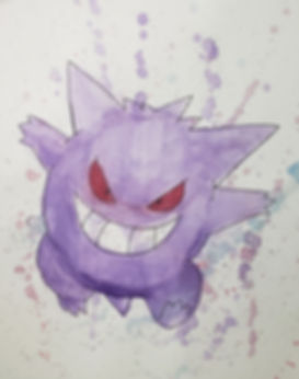Original Gengar Pen and Watercolor Piece