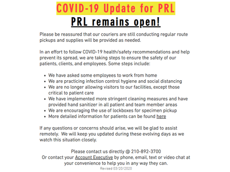 COVID-19 Update for PRL