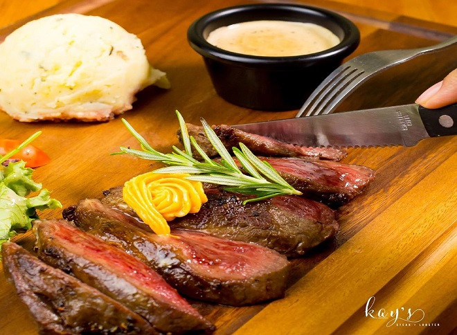 steak and lobster meal