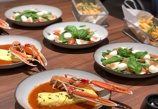 Lobster Omelet and Fig Caprese Salad