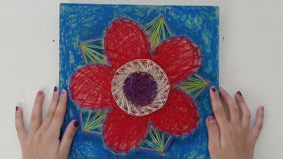String art  Flower Red by eileenaart