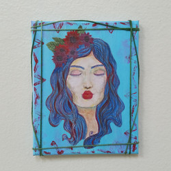 kiss me  mixed media collage small format by Eileen A. Art