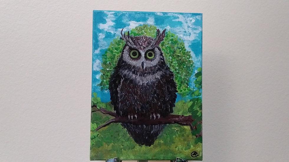Owl- collage painting by eileenaart