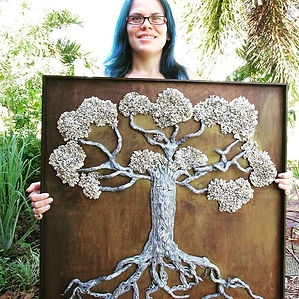 Our Tree of life; Are hand carved bi dimensional sculptures, utilizing polymer clay as the main material , all our trees of life are executed withsimilar details to a real tree. The bi dimensional sculpture tree is finished with high quality acrylics andfasten to the stained wood background.    