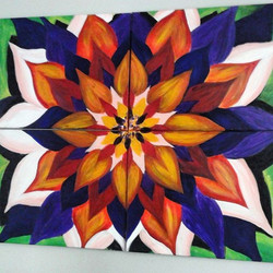 Custom made quadriptych 2013 _Lotus flower_ composed four 18_x 24_ canvases of  whole size