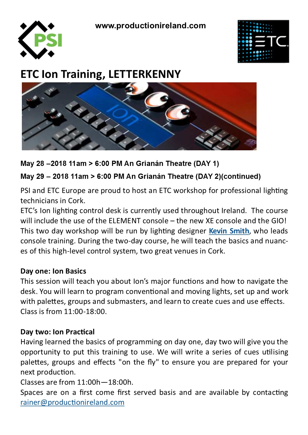 ETC Ion Training in Letterkenny! | Production Services Ireland