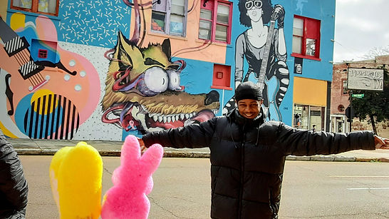 Blues drummer Lee Williams' smile & HUG! | Downtown Mural | Peep Tour of Clarksdale, Mississippi (c Shared Experiences USA)