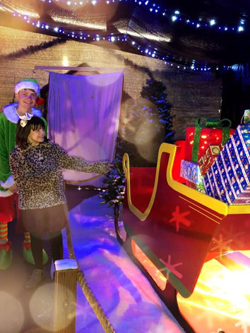Santa's sleigh is stacked high with gifts for all the children who visit.