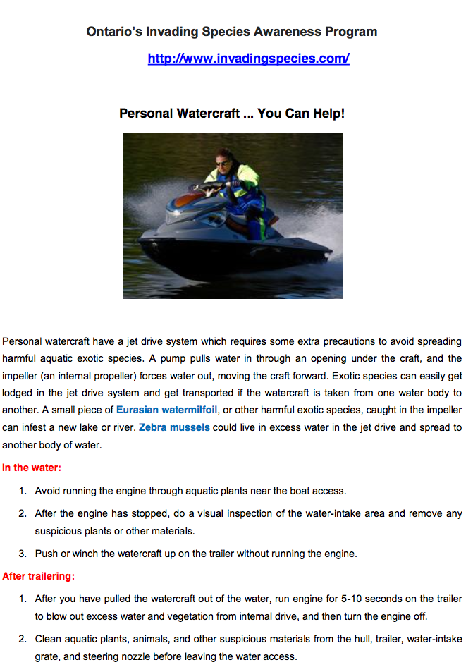 Personal Watercraft    You Can Help! | Long Lake Stewardship