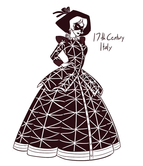 I have an encylopedia of world fasion history, and I took requests by drawing a character and a costume from a random page. This was one of my favorites.