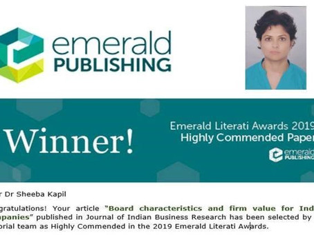 Emerald Literati Awards 2019 - Dr. Sheeba Kapil