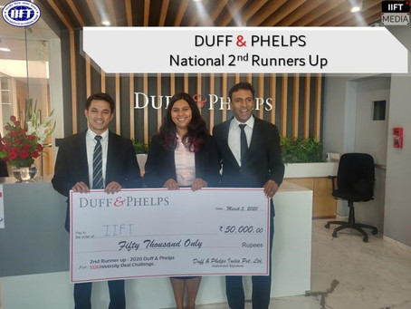 National 2nd Runners Up in Duff & Phelps YOUniversity Challenge 2020