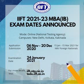 IIFT Exam dates announced!