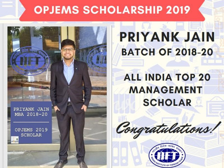 OPJEMS 2019 Scholarship to IIFT Student