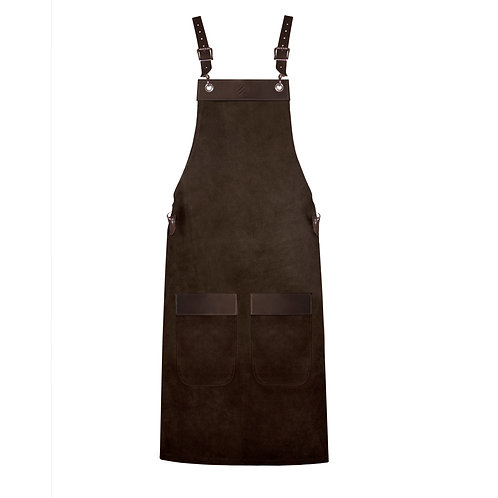 FULL LENGTH APRON dark brown suede