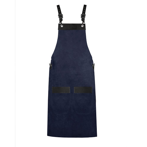 FULL LENGTH APRON navy blue suede